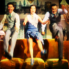 """larissabernstein: Cosmo, Don and Kathy in the final scene of the """"Goodmorning"""" song, jumping on the couch. (Singin' in the Rain couch jumping)"""