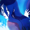 recessional: Azula from Avatar: The Last Airbender, surrounded in blue fire (tv: at the blue light of the flame)