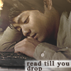 "mako_lies: Picture of Kevin Tran from Supernatural reading a tablet, with the words ""read till you drop"" across it. (09)"
