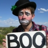 "quirkyblogger: It's a sad clown holding a sign that reads ""BOO."" (sadclown)"