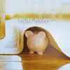 "squeakycat: Porcelain pig under a rug with the words ""Run Away"" (Run away)"