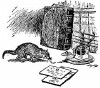 oursin: Illustration from the Kipling story: mongoose on desk with inkwell and papers (mongoose)