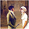 nocowardsoul: young lady in white and gentleman speaking in a hall ([alcott] kiss)