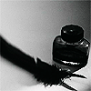 storyjunkie: b&w ink bottle and quill (pen and ink)
