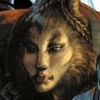flourish: A woman, Taura, whose face is a blend of human and beast: brown braided fur, fanged mouth set in a neutral expression. (Vorkosigan taura)