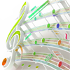 sharpest_asp: 3-dimensional music clef and staff with notes as bleachers (General: Music 1)