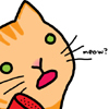 "revolutions: A cartoon of an orange cat saying ""meow"". (meow!)"
