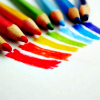 kfabian: A rainbow drawn on a page, with the colouring pencils next to each line of colour (pic#732249)