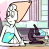 radondoran: Pearl from Steven Universe with a microscope and beakers, looking annoyed (Steven Universe - science!)