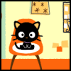 apollymi: Chococat sitting in an orange chair, no text (Sanrio**Chococat: This is my ROOM!)
