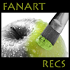 fanart_recs: a grayscale apple being painted green with a brush (apple banner) (Default)