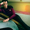 rhivolution: Q gets comfy on the Enterprise-D bridge (why helllloooo.: Q)