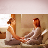 shinyjenni: Buffy and Willow sitting crosslegged on a bed, holding hands (buffy and willow)