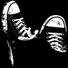 lokifan: black Converse against a black background (Peggy)