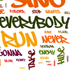 siegeofangels: word cloud of danger days lyrics. prominent words are everybody and run (run)