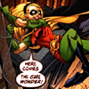 "shobogan: Stephanie as Robin, swinging over Robin and saying ""Here comes the Girl Wonder!"" (Girl Wonder)"