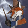 shyfoxling: fox in a witch's hat and Ravenclaw colors scarf with a wand and shiny swirly bits (general (shyfoxling))