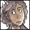 aldersprig: drawing of a dark-skinned young man with goat horns and a nervous expression (Jamian)