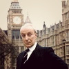 mightthinkthat: Ian Richardson posing in front of parliament. (ain't I a stinker?)