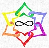 kshandra: Six hearts in rainbow colors, linked in a star pattern around an infinity symbol (Polyamory)