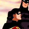 radioactivepiss: Batman and Robin from Young Justice smiling ([Batman & Robin] :))