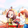 anaraine: Celia handing Mark a bowl of strawberries over a fence, from the A Wonderful Life game. ([harvest moon] strawberries)