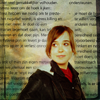 bluegamine: Glorious Ellen Page in front of a wall of words. (words and ellen)