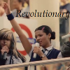 language_escapes: Harriet with a microphone with text reading Revolutionary (Revolutionary)