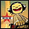 redstarrobot: Noodles from the Gorillaz in a go-kart, with the initials RSR on a red star background. (Default)