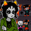 sqbr: Nepeta from Homestuck looking grumpy in front of the f/f parts of her shipping wall (grumpy)