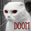 "green_dreams: Red-eyed white cat, captioned with ""DOOM"" (DOOM)"