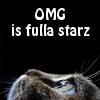 kerravonsen: Cat staring upwards: OMG iz fulla starz (LOLcat)