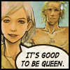 "sathari: Ashe and a barechested Basch from FFXII with the caption ""it's good to be the queen"" (Ashe- good to be the queen)"