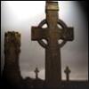 vaalea: Celtic cross tombstones in the twilight. (Christianity ~ Eire)
