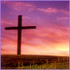vaalea: A cross standing in the fields, a sky full of pink clouds. (Christianity ~ Cross ~ Hope)