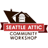 foxfirefey: A stylized house roof containing an attic window, logo of Seattle Attic. (seattle attic)