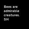 "brewsternorth: Black background; white text reads, ""Bees are admirable creatures. SH"" (sherlock)"