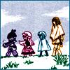 arabesque: +Anima: Cooro, Senri, Nana and Husky walking in a line (Duck duck duck GOOSE.)