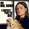 "spatz: Brennan petting a Pomeranian, caption ""No Mr. Bond, I expect you to die."" (Bones die Mr Bond)"