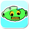 green: vector art zombie head (misc: zombie)