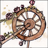lizcommotion: A hand drawn spinning wheel covered in roses (spinning wheel briar rose)