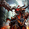 oneill: Darksiders - War charges Ruin toward the viewer, Chaoseater held high (for the great day of his wrath is come)
