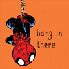 "shanaqui: Icon of cute baby Spiderman, hanging upside down, text ""hang in there"" ((Spidey) Hang in there)"