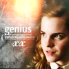 """sylvaine: Hermione gazing at something off-screen. Text reads """"genius"""". ([HP] Hermione is a genius)"""