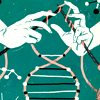 sylvaine: A drawing of hands holding knitting needles, knitting a DNA double-helix. ([gen:craft] knitting fate)