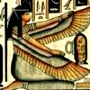 sylvaine: Ancient Egyptian art (possibly a wall painting?) of Isis kneeling, with her wings. ([gen] Egypt: Isis)