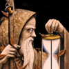 sylvaine: Old man in a grey hood with a long white beard, leaning on a walking stick & holding a glowing hourglass in front of him ([gen:mel] the time has come)