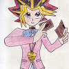 alexseanchai: Yami Yuuki wearing Domino High uniform girl edition and holding Duel Monsters cards (Yuukiverse Yu-Gi-Oh! Yami Yuuki)