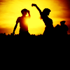 jactrades: Two Silhouettes in a sunset (Stock - Sunset Dancing)