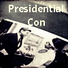 "jumpuphigh: B&W picture of June & JFK in photo album with text ""Presidential Con"" across the top (Con)"